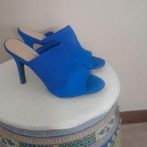Blue suede heels size 7